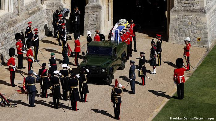 Prince Phillip's coffin escorted by guards