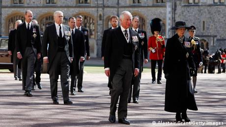 Princess Anne, Princess Royal, Prince Charles, Prince of Wales, Prince Andrew, Duke of York, Prince Edward, Earl of Wessex, Prince William, Duke of Cambridge, Peter Phillips, Prince Harry, Duke of Sussex, Earl of Snowdon David Armstrong-Jones and Vice-Admiral Sir Timothy Laurence follow Prince Philip, Duke of Edinburgh's coffin during the Ceremonial Procession during the funeral of Prince Philip, Duke of Edinburgh at Windsor Castle