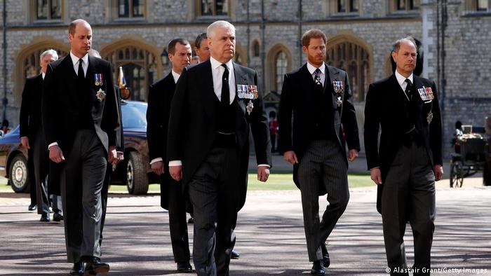 Prince Andrew at the Duke of Edinburgh's funeral service