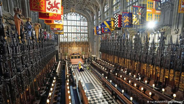 Prince Philip's coffin in St. George's Chapel