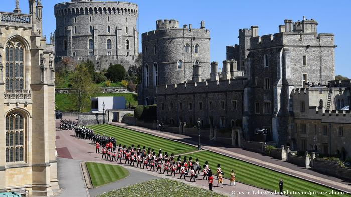 Soldiers marching on the grounds of Windsor Castle