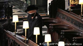 Queen Elizabeth II inside St. George's Chapel during Prince Philip's funeral