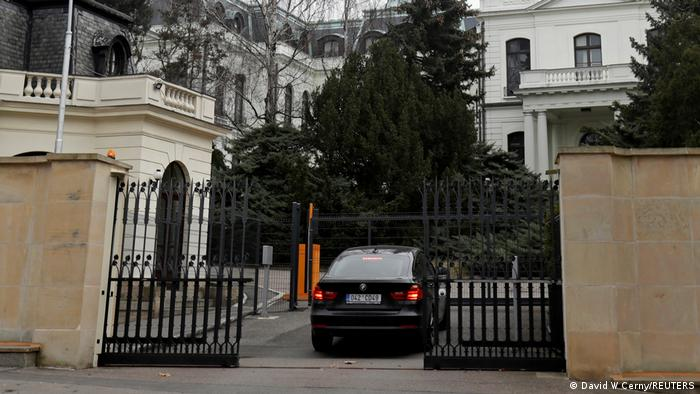 A car drives into the Russian embassy in Prague