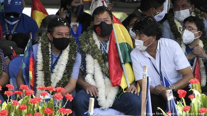 Foto de Luis Arce, David Choquehuanca y Evo Morales
