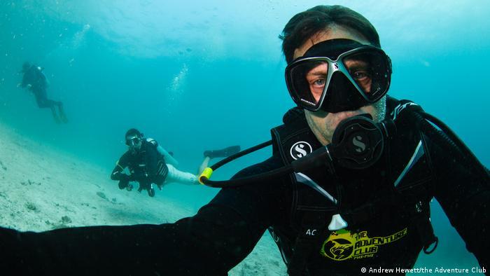 Andrew Hewett diving around the Phi Phi Islands