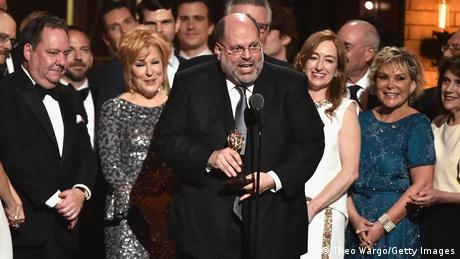 """roducer Scott Rudin and the cast of Hello, Dolly!"""" accept the award for Best Revival of a Musical onstage during the 2017 Tony Awards"""