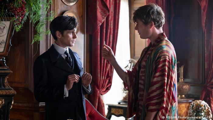 Tom Riley, left, and James Norton in a scene from The Nevers.