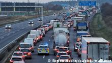 A traffic jam on the German autobahn