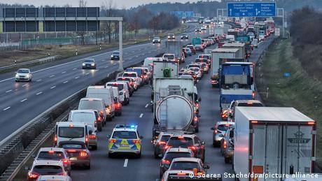 A traffic jam on the German autobahn