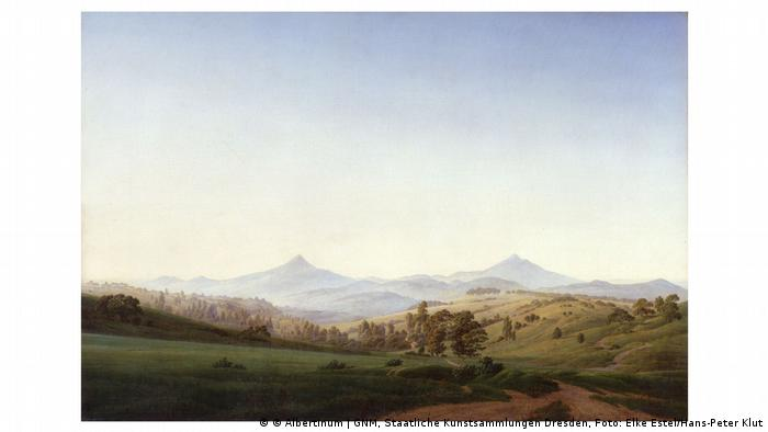 Painting of a hilly landscape, path in the foreground, higher mountains in the distance, by Caspar David Friedrich