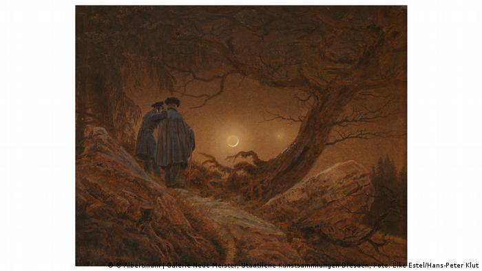 Painting of two men looking at the moon by Caspar David Friedrich