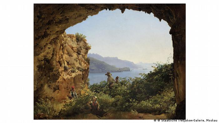 Painting of a grotto, view of the sea by Sylvester Shchedrin