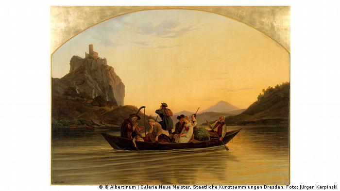 Painting of a boat with several people floating down a river