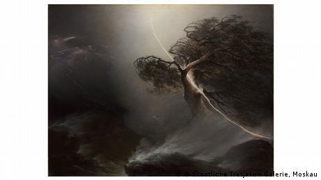 Ein Gemälde zeigt in düsteren Farben eine vom Blitz gespaltene Eiche.
