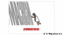 Foto Piktogramm Migrantas Thema gegen Machismo