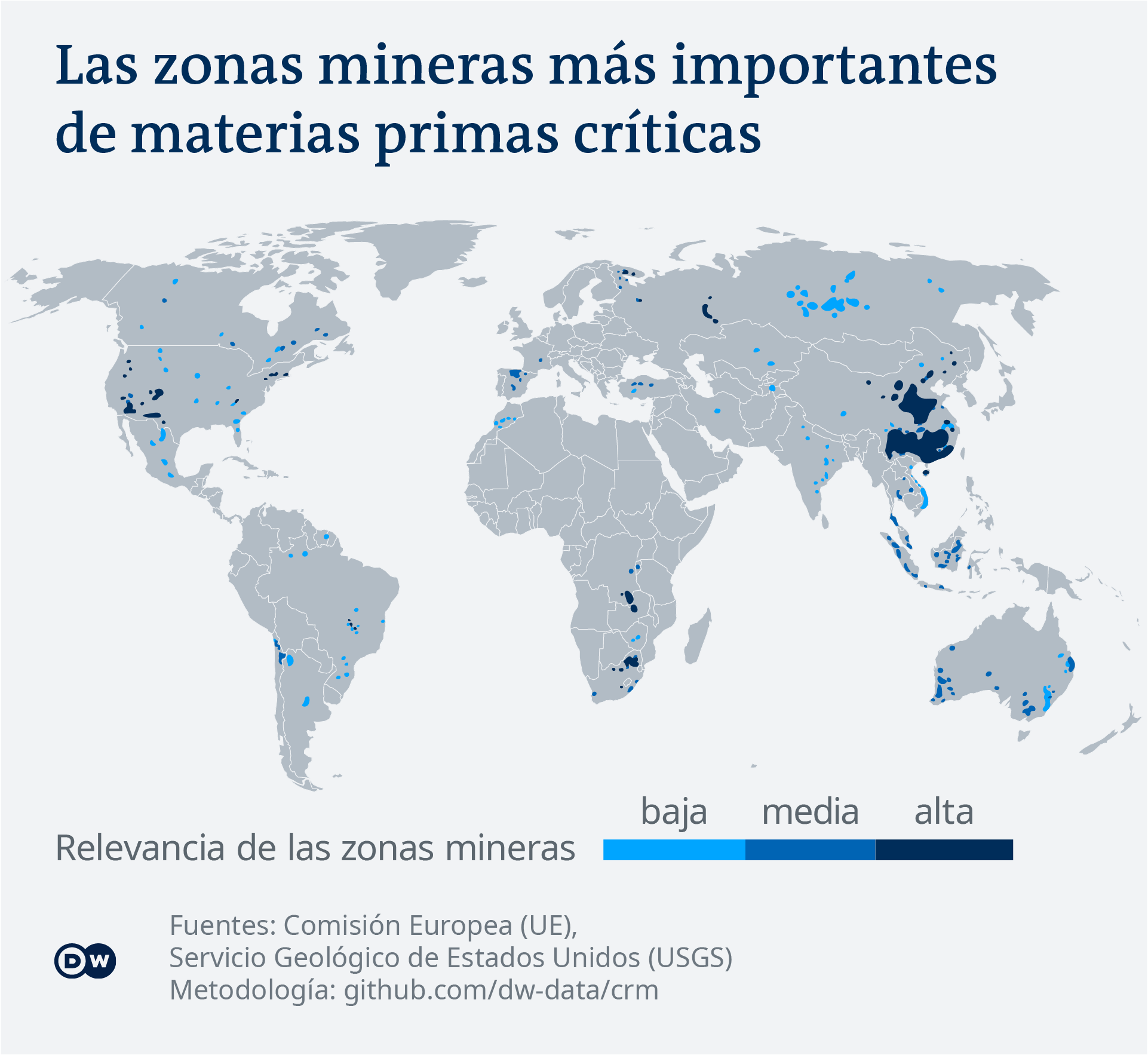 Data visualization: Critical raw materials map - Spanish Visualización: Las zonas mineras más importantes de materias primas críticas
