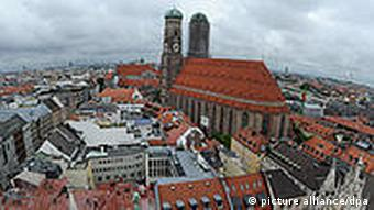 Munich city centre with large church