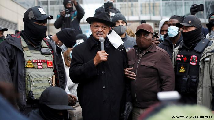 Reverend Jesse Jackson speaks to demonstrators who marched through downtown Minneapolis demanding justice for George Floyd and Daunte Wright while jury deliberations begin for former Minneapolis Police officer Derek Chauvin's murder trial at the Hennepin County Government Center in Minneapolis