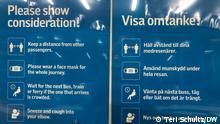 Schweden Stockholm | Coronavirus | Hinweis auf Maskenpflicht