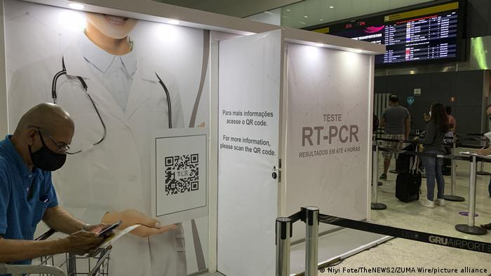 A PCR test center at the Sao Paulo International Airport.