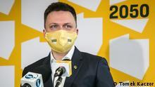 Szymon Hołownia, polnischer Journalist, Schriftsteller und Fernsehmoderator, der sich 2020 um das Amt des Präsidenten bewarb. Ende März 2021 registrierte er die Partei Polska 2050 (Polen 2050). via Magdalena Gwozdz-Pallokat