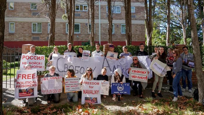 Акция в защиту Алексея Навального в Сиднее