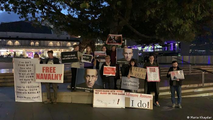 Акция в поддержку Навального в Окленде