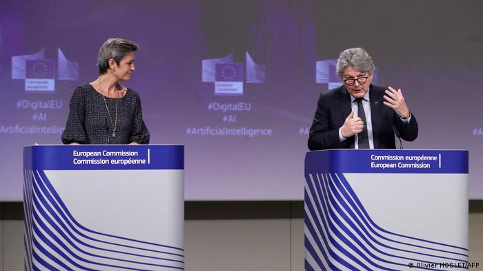 European Executive Vice-President Margrethe Vestager and European Commissioner in charge of internal market Thierry Breton unveil 'landmark' rules on artificial intelligence in Brussels