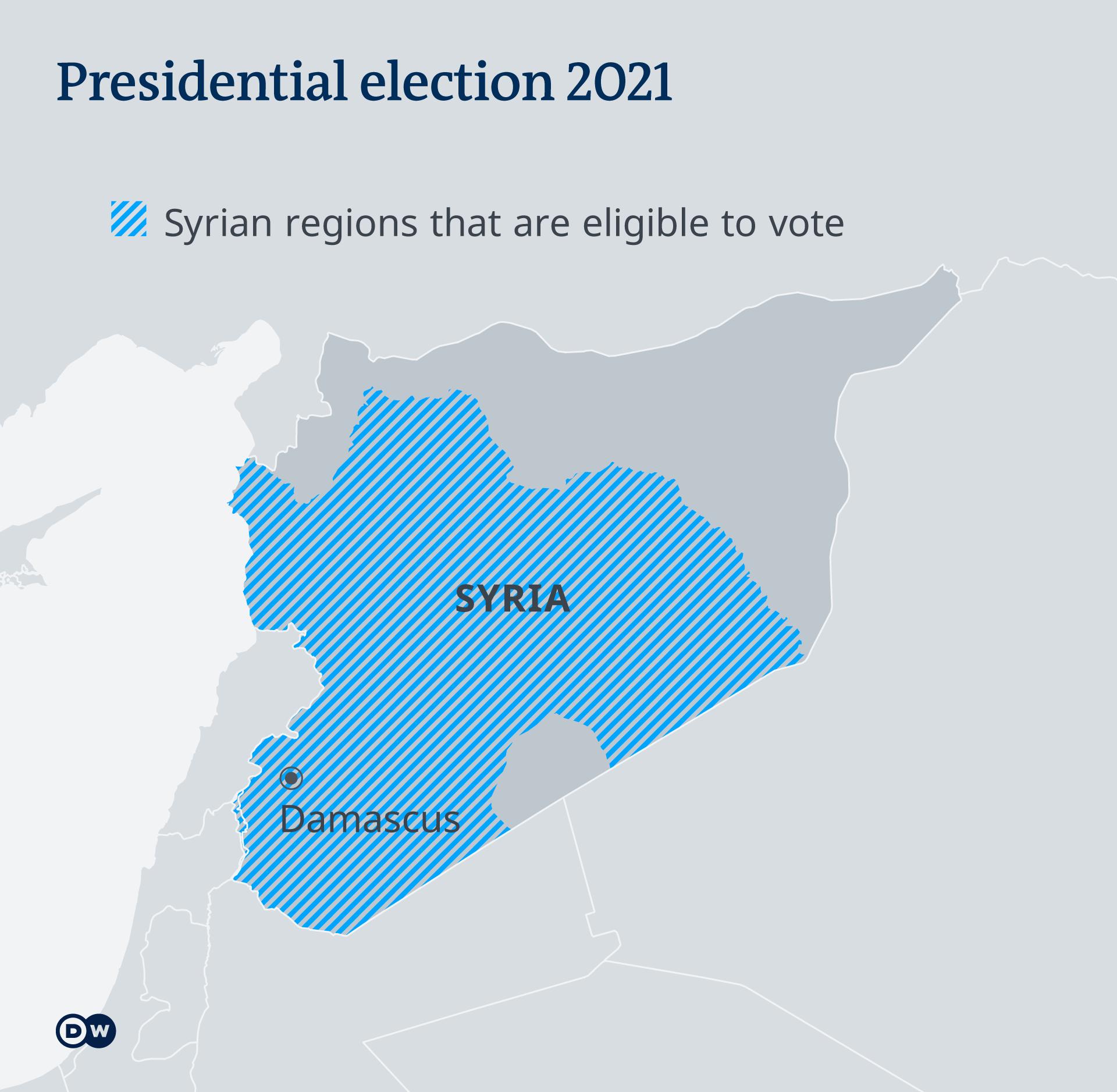 Kawasan yang diizinkan mengikuti pemilu di Suriah (arsir biru)
