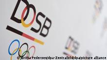Das Logo des Deutschen Olympischen Sportbundes (DOSB). Der Deutsche Olympische Sportbund hält ein Festhalten an einer Bewerbung der Rhein-Ruhr-Initiative um die Sommerspiele 2032 für falsch. (Zu dpa: «DOSB zu IOC-Votum für Brisbane: Deutsche Bewerbung nun unmöglich») +++ dpa-Bildfunk +++
