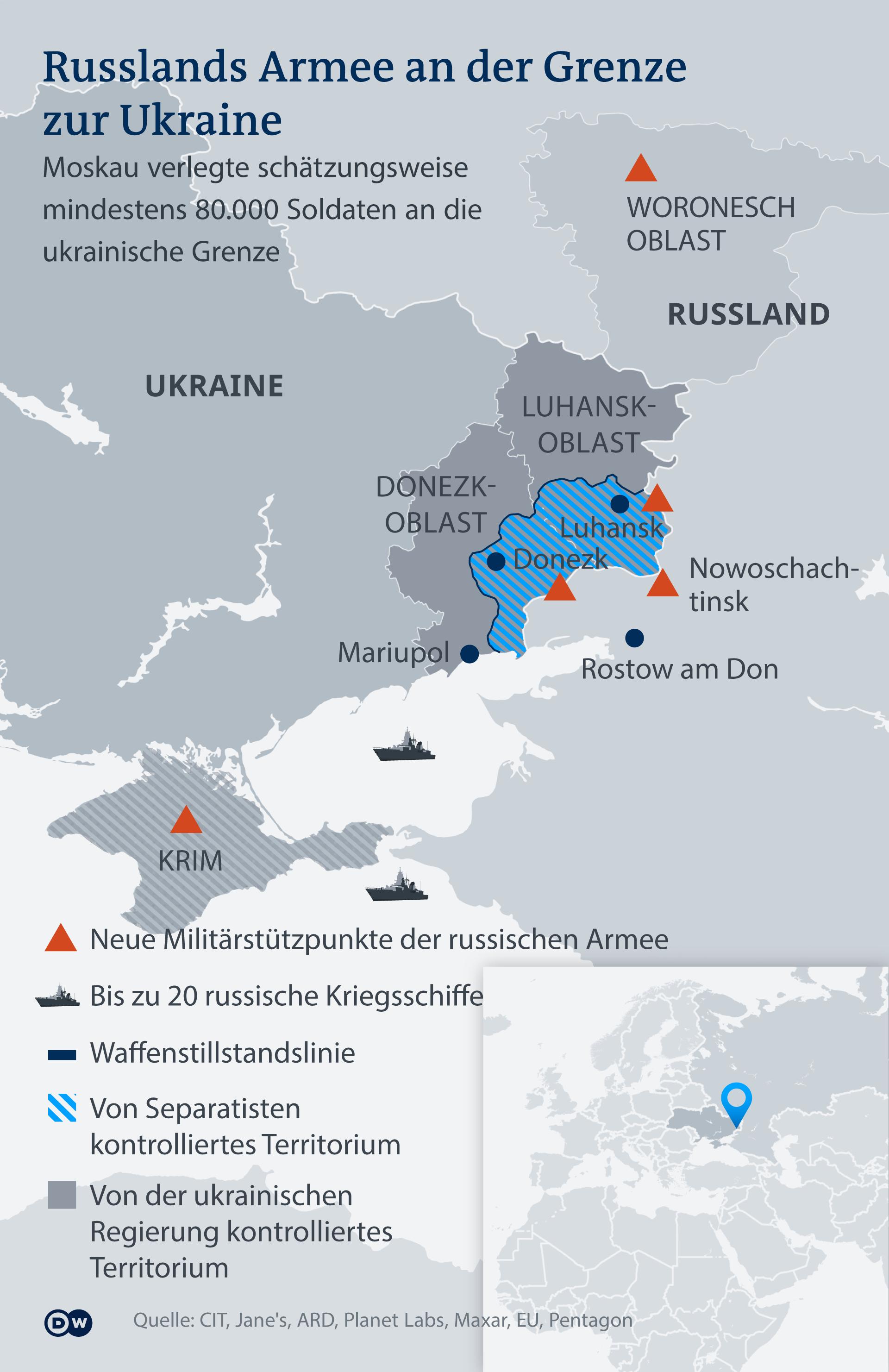 Infografik Russlands Armee an der Grenze zur Ukraine DE