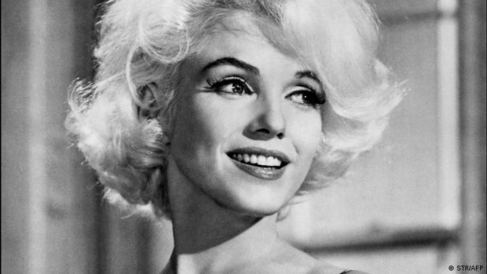 Black-and-white portrait of actress Marilyn Monroe.