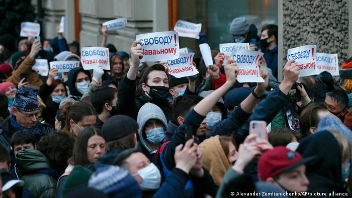Navalni için Moskova'da düzenlenen protesto