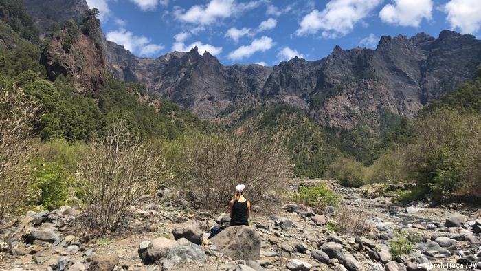 El autor se asienta en un valle rodeado de altas montañas en el Parque Nacional Caldera del Tapuriante en la isla de La Palma.