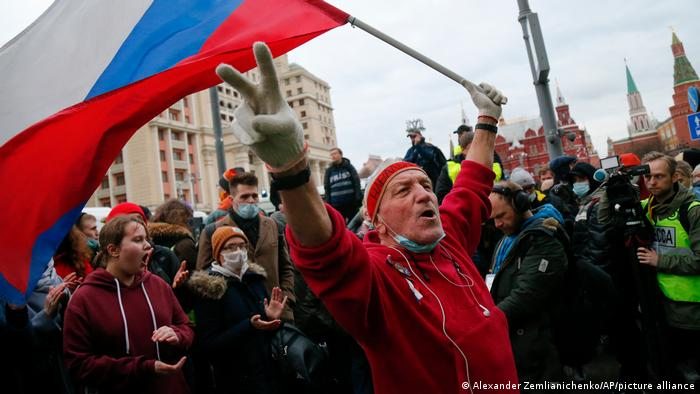 An opposition rally in support of jailed opposition leader Alexei Navalny in Moscow in April