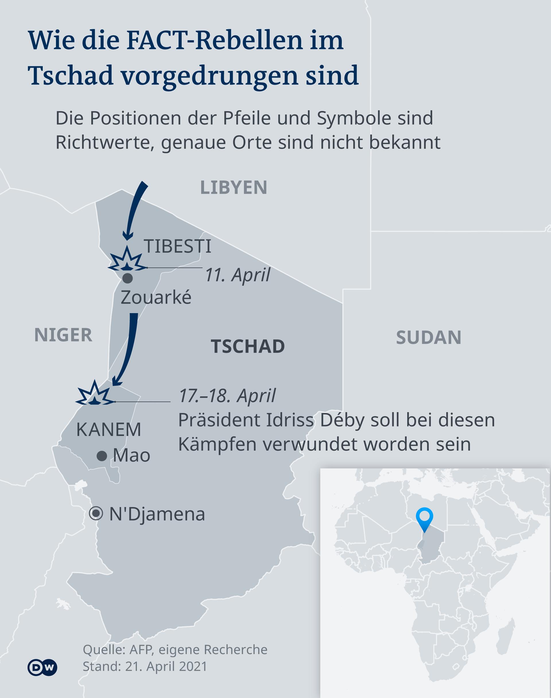 Infografik Karte FACT Rebellen Tschad DE