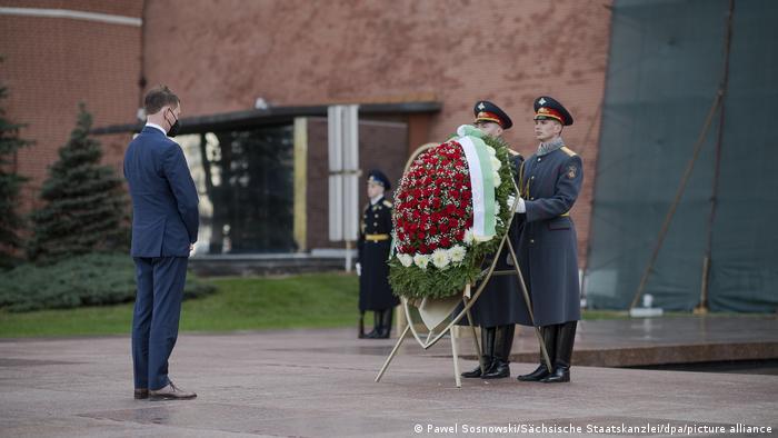 Premier Saksonii Michael Kretschmer podczas wizyty w Moskwie