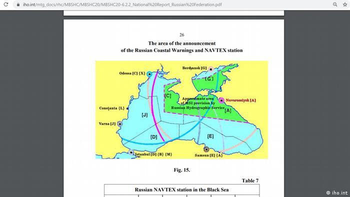 Станция NAVTEX в Новороссийске на картах, обнародованных Минобороны РФ