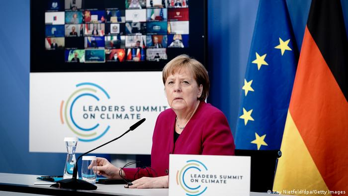 Angela Merkel at the virtual climate summit in April 2021