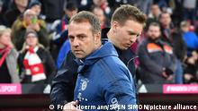 Wird jetzt Julian Nagelsmann Nachfolger von Hans Dieter Flick (Hansi ,Trainer Bayern Muenchen)? Archivfoto: Hans Dieter Flick (Hansi ,Trainer Bayern Muenchen) mit Julian NAGELSMANN (Trainer L). Fussball 1. Bundesliga,21.Spieltag,Spieltag21, FC Bayern Muenchen (M) -RB Leipzig (L) 0-0, am 09.02.2020 in Muenchen A L L I A N Z A R E N A, DFL REGULATIONS PROHIBIT ANY USE OF PHOTOGRAPHS AS IMAGE SEQUENCES AND/OR QUASI-VIDEO. ¬
