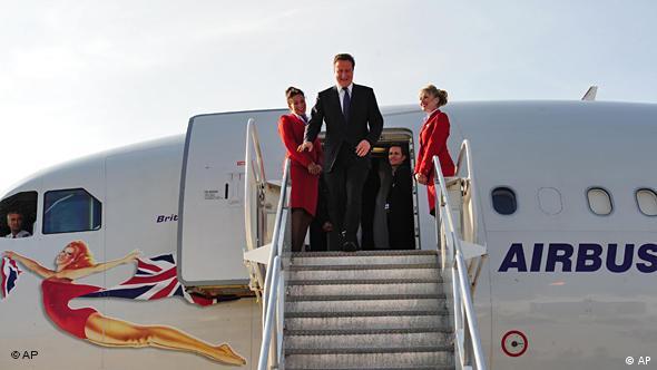 David Cameron arriving at Toronto airport.