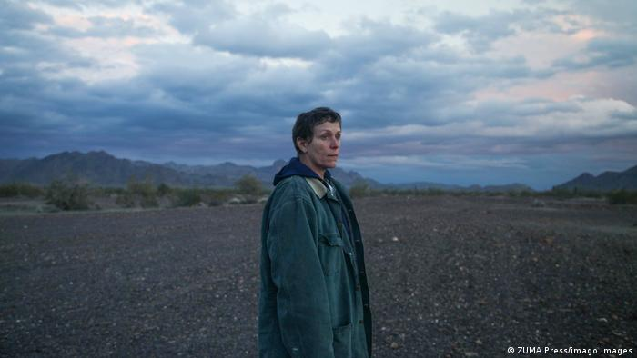 Frances McDormand as the character Fern, standing in a vast landscape.