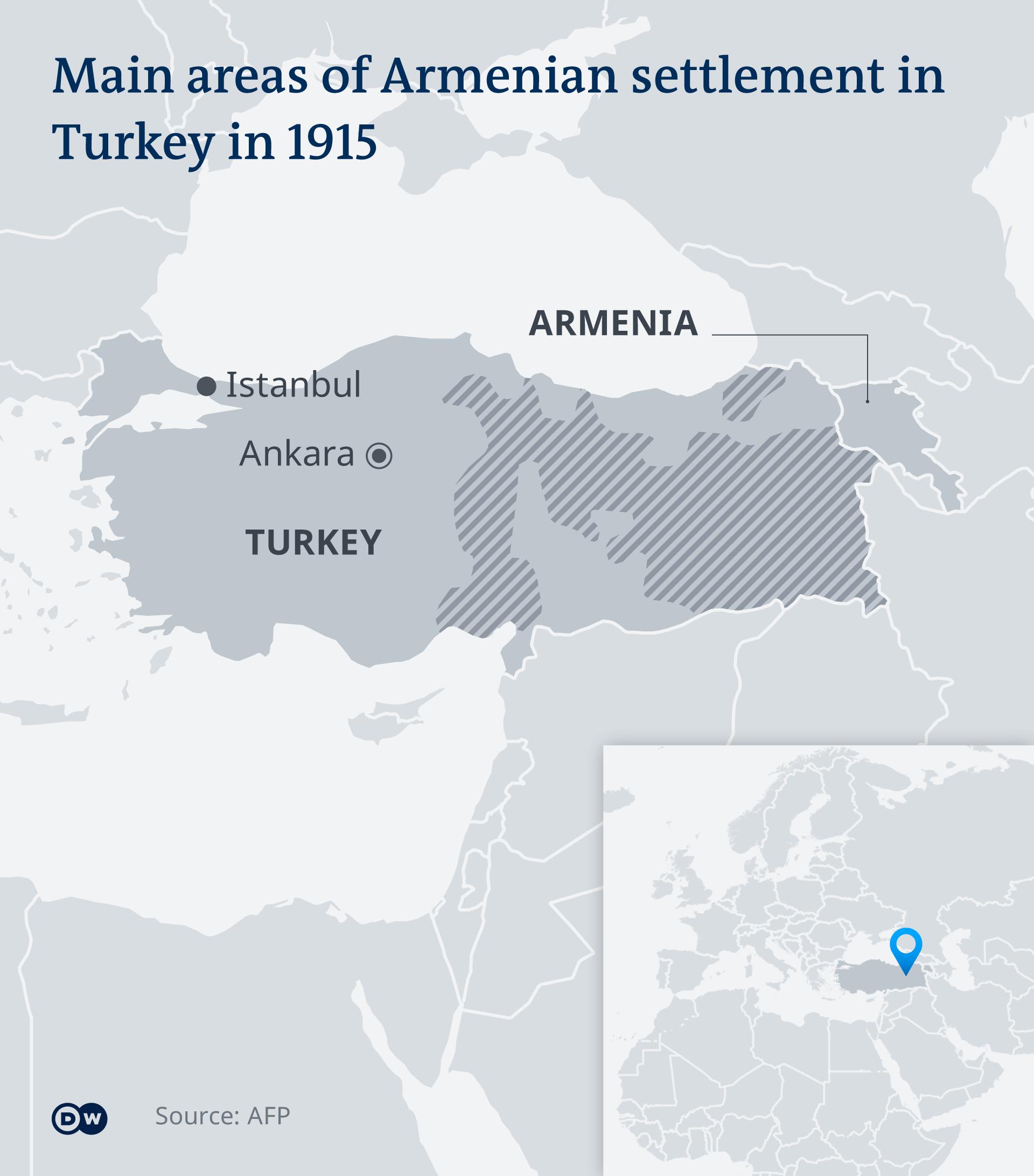 A map showing Armenian population in Turkey in 1915