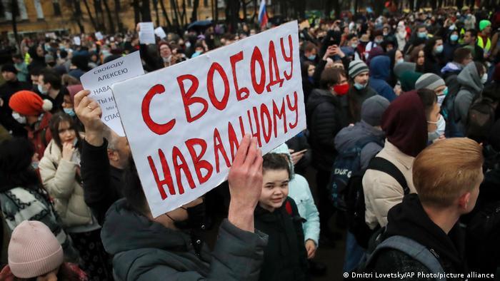 Russland Protest für Alexej Nawalny