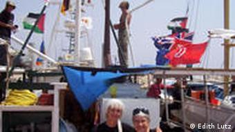 Edith Lutz mit der Aktivistin Hedy Epstein. Auf den T-shirts steht: Gaza on my Mind, Foto: Edith Lutz