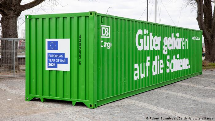 A green container belonging to the German railway in Cologne, Germany