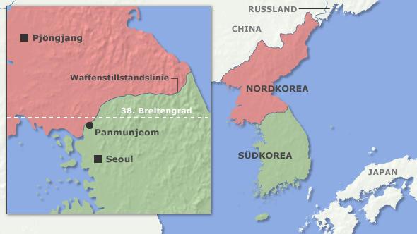 Karte von Korea nach dem Krieg DW-Grafik: Per Sander