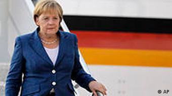 Angela Merkel descending from plane