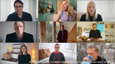 A collage of different still from the video series #allesdichtmachen, actors Jan-Josef Liefers, Nina Proll, Nadja Uhl, Ulrich Tukur, Wotan Wilke Möhring, Maxim Mehmet, atharina Schlothauer, Peri Baumeister, Richy Müller.