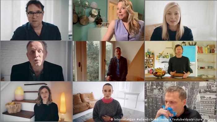 Mehrere Schauspielerinnen und Schauspieler sind in kurzen Videos zu sehen.